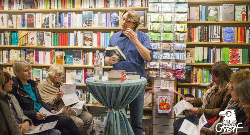 Bücherlese bei Rotwein 2014 in der Buchhandlung Greif