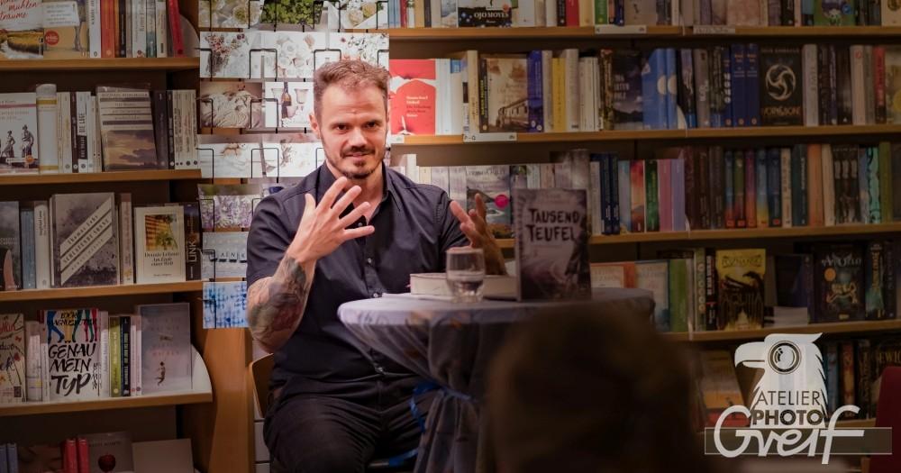 """Frank Goldammer las aus seinem Roman """"Der Angstmann"""" in der Buchhandlung Greif"""